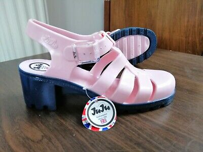 JuJu Jelly Shoes Pink Size 3 Made In UK Heels Sandals