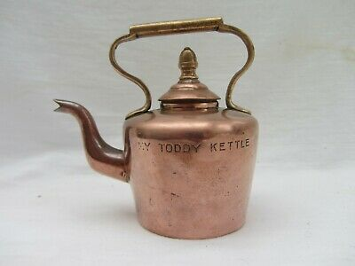 Rare Antique Miniature Seamed Copper & Brass Kettle,. My Toddy Kettle