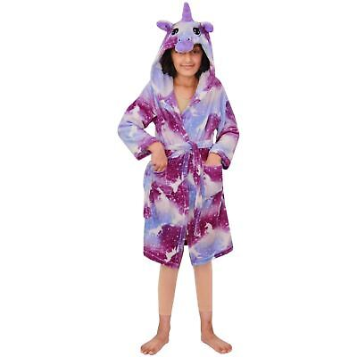 Kids Girls Unicorn Hooded Bathrobe Purple Xmas Cosplay Costume Loungewear Suits