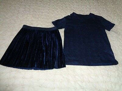 Next Party Velvet Skirt~Sparkly Top Short Sleeve Navy Age 7~8Yrs~  Bnwot