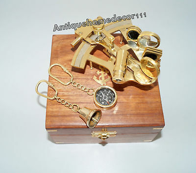 Nautical Marine Maritime Collectible Solid Brass Sextant Wooden Box 2 Keychain