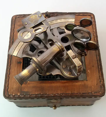 Navigation Working Nautical Sextant Antique w/ Leather Case Brass Sextant Marine