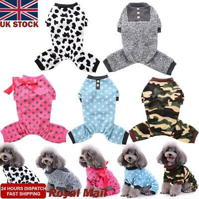 Puppy Pajamas Small Pet Dog Cat Jumpsuit Warm Indoor Home Clothes Costume Jacket