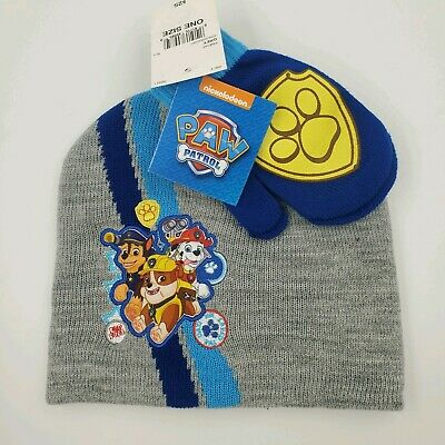 Paw Patrol Beanie & Mittens Set, Size Toddler / One Size, Gray, Blue, Gloves
