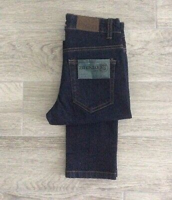 Boys Enzo Slim Fit Stretch Jeans In Dark Blue Denim Zip Fly Size 25 = 10-11 Yrs