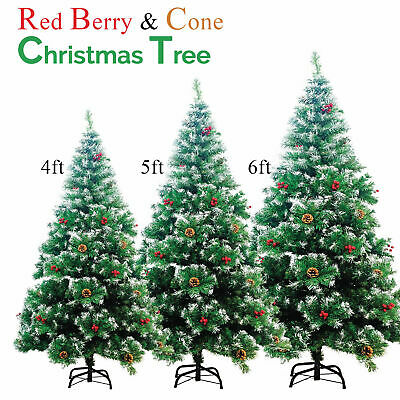 4ft 5ft 6ft Scandinavian Spruce Frosted Christmas Tree Pine Cones & Red Berries