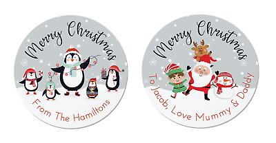 24 Personalised Christmas Labels / Stickers, 2 Designs, Penguin,Santa, Rudolph,