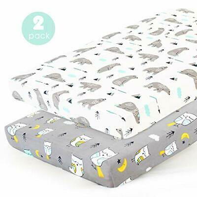 Stretchy-Pack-n-Play-Playard-Sheets-Brolex 2 Pack Portable Mini Crib Sheets,Conv