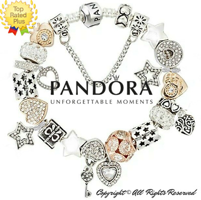 Authentic PANDORA Bracelet Silver Gold with LOVE STORY HEART European Charms New
