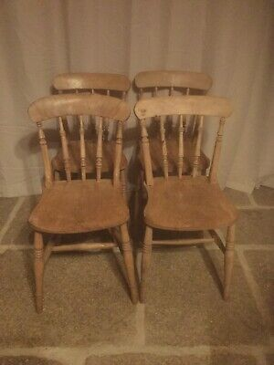 4 Antique Rustic Farmhouse Beech Ash Kitchen Dining Chairs
