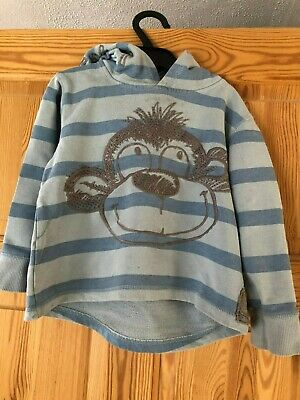 NEXT Boys Cute Monkey Blue Striped Hoodie Age 3-4yrs