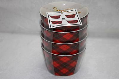 222 Fifth Christmas Plaid Round Appetizer Dessert Bowls - Set of 4