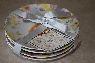 222 Fifth Sydney Easter Bunny Floral Round Appetizer Dessert Plates - Set of 4