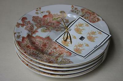 222 Fifth Norah Coral Round Appetizer Dessert Plates - Set of 4