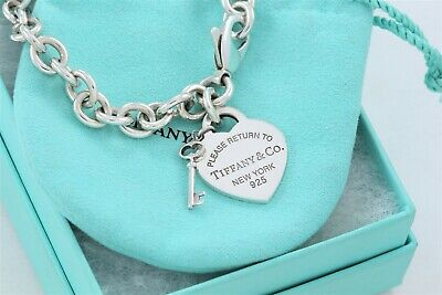 Please Return To Tiffany & Co Sterling Silver Heart Tag Key Love Bracelet +Pouch
