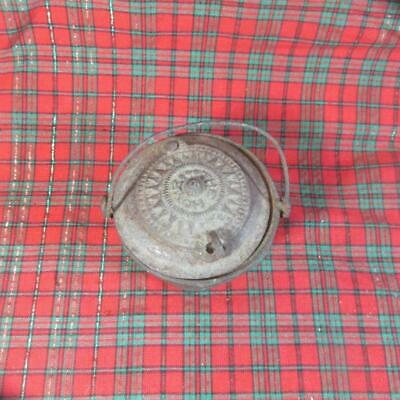 Antique Cast Iron Complete Glue Pot, THE HOME, Lucky Symbol Swastika on Bottom