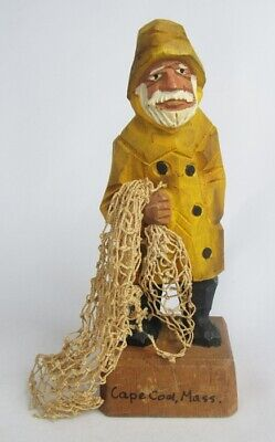 Vintage Hand Carved Painted Wood Cape Cod Fisherman with Fish Net Figurine