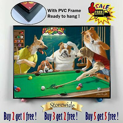 """12""""x16"""" Dog Playing Cards Posters HD Canvas print PVC Frame Home Decor Wall art"""