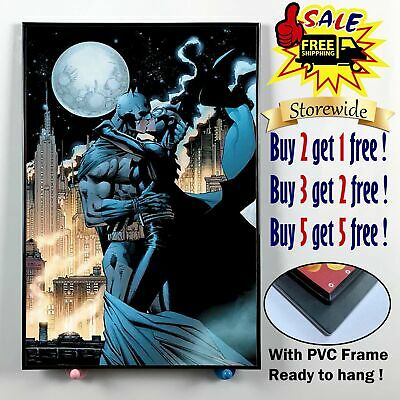 "12""x20"" Catwoman kiss batman HD Canvas print PVC Frame Home Decor Wall picture"