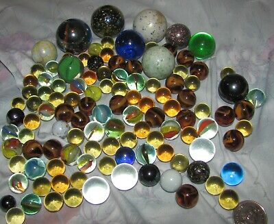 Original Vintage Marbles, Alleys, Swirl, Cats Eye, etc Lot of 100+ Big and small