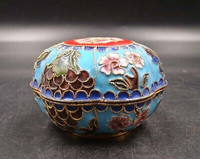 70mm Collectible Handmade Copper Brass Cloisonne Enamel Makeup Boxes
