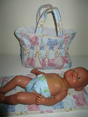 "Dolls Nappy Bag & Change pad,  "" Patch Look Pink / Blue """