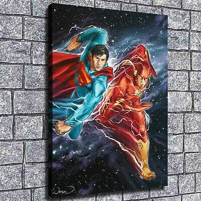 "12""x16""Superman Flash Race HD Canvas print Painting Home decor Picture Room Wall"