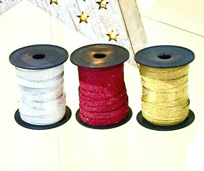 Christmas Sparkle Ribbon - RED GOLD SILVER - Xmas Craft Twine
