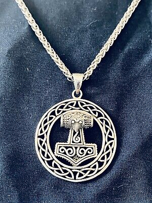 Large 925 Sterling Silver Viking Norse Thor's Hammer Mjolnir Pendant Necklace