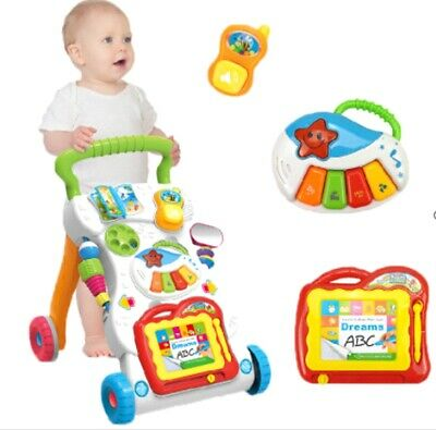 Baby Walker First Steps Activity  Musical Toys Car Push Along Ride On Go