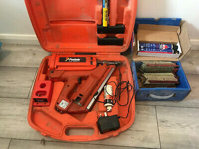 PASLODE IMPULSE IM350 /90 CT FIRST FIX GAS NAIL GUN + Box Of Nails And 2 New Gas