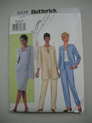 UNCUT Butterick Sewing Pattern 6938 - Womens Jacket Skirt Pants - Sizes 14-18