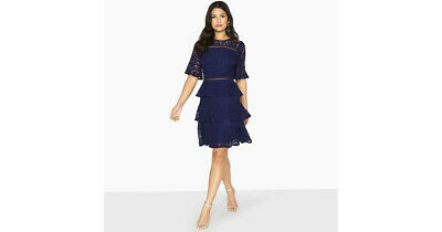 Bnwt Ladies 8 Girls On Film Little Mistress Navy Lace Frill Dress Christmas