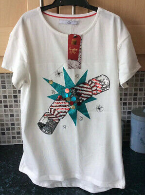 Girls Cream Christmas Short Sleeved Top Age 8/9 Years From M&S New With Tags