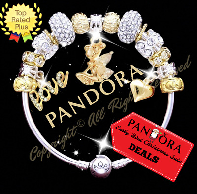 Authentic Pandora Charm Bracelet ANGEL FAIRY TINKERBELL with European Charms New