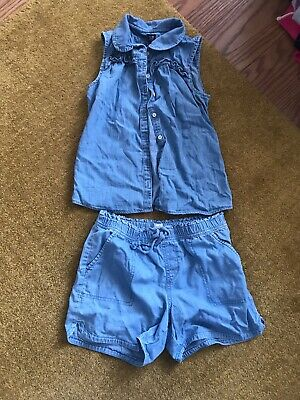 Girls Gap Demin Shorts And Top Size  12-13 Small Fitting