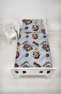 Disney Mickey Mouse Racer Junior Toddler Cot Bed Bundle, Duvet, Pillow, Bedding