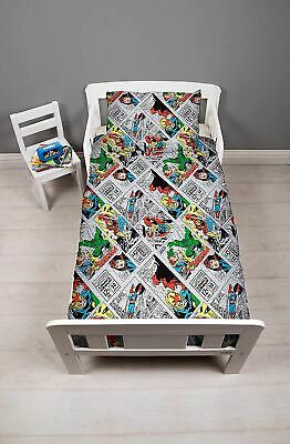 Disney Marvel Comics Retro Junior Toddler Cot Bed Bundle, Duvet, Pillow, Bedding