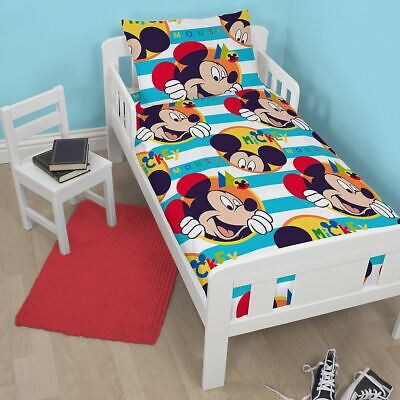 Disney Mickey Mouse Boo Junior Toddler Cot Bed Bundle, Duvet, Pillow, Bedding