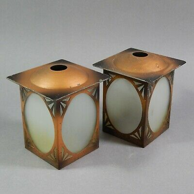 Vintage Pair of Art Deco Metal & Glass Small Lantern Lampshades 30's 50's Light