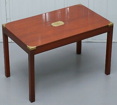 Vintage Rrp £1400 Harrods London Mahogany & Brass Military Campaign Coffee Table