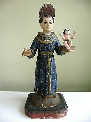 Antique SANTO FIGURE Spanish Colonial Wooden Polychromed Glass Eyes St. Anthony