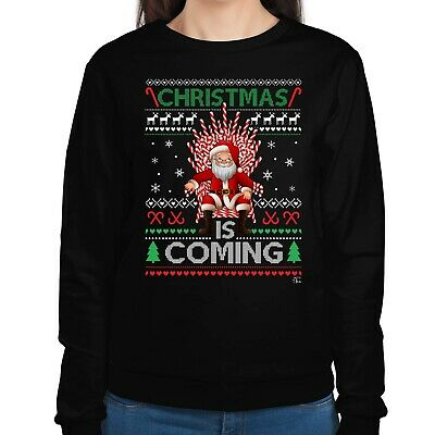 1Tee Womens Christmas is Coming - Santa on a Candy Cane Throne Sweatshirt Jumper