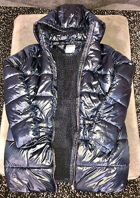 Next Girls Navy Blue Coat Age 14 with Rose Gold Zips