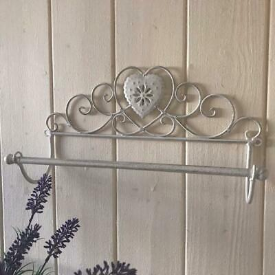 Shabby Chic Kitchen Roll Holder French Vintage Bathroom Towel Rail Cream Heart