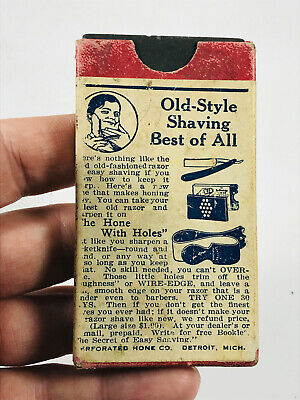 Antique Hone Your Own Straight Razor Stone Hone barber shaving w/ Box!