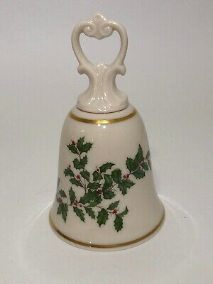 """LENOX China Holiday Holly Berry Christmas Dimension Bell 5-1/2"""" 24k Gold Trim"""