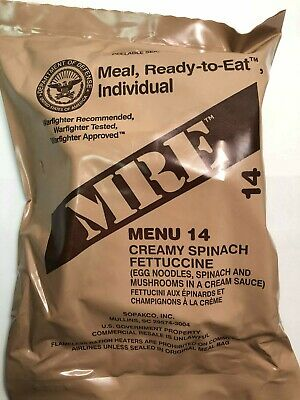 US Military MRE Meal Ready To Eat Creamy Spinach Fettuccine & Mushrooms #14
