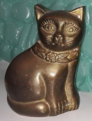Antique Solid Brass Cat Figure