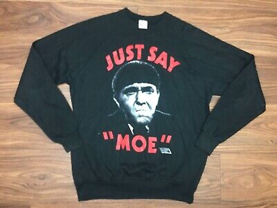 Vintage 1989 The Three Stooges Just Say Moe Graphic Crew Neck Sweatshirt Sz XL
